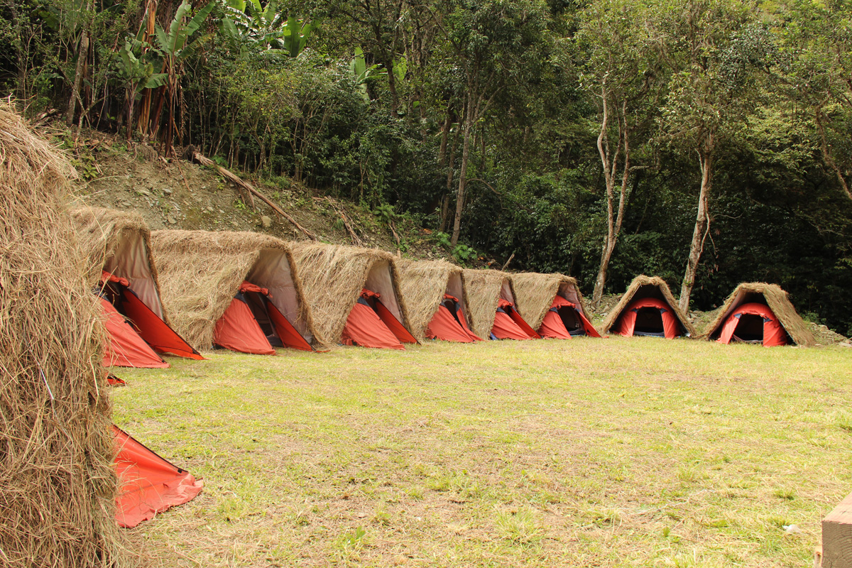 Salkantay trek camps in the mountains