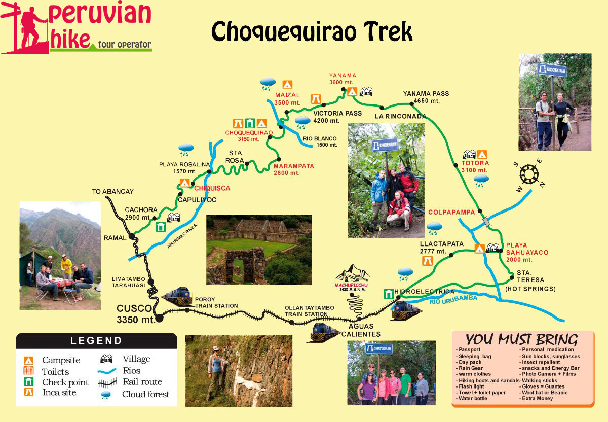 Choquequirao trek 8 days map and itinerary