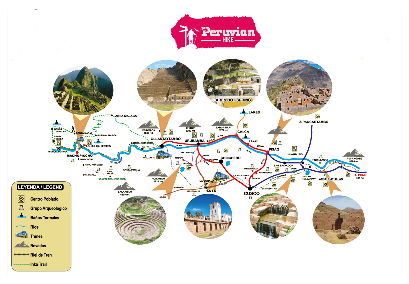 Sacred valley  map and itinerary